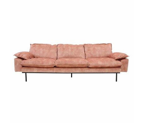 HK-living Canapé rétro canapé 4 places vieux velours rose 245x83x95cm