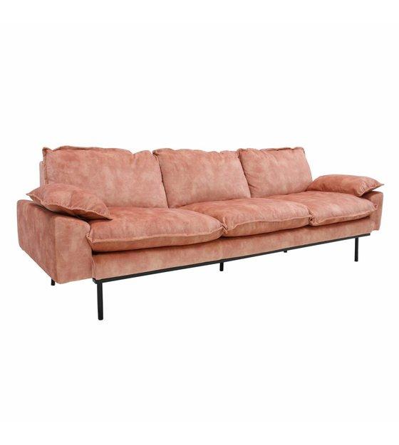 Retro Sofa 4 Seater Old Pink Velvet