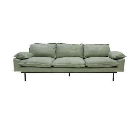 HK-living Sofa retro sofa 4-seater mint green leather 245x83x95cm