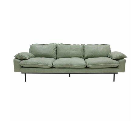 HK-living Sofa retro Sofa 4-Sitzer mintgrünes Leder 245x83x95cm