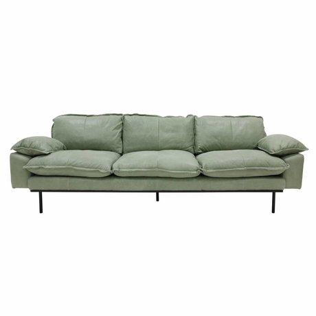 HK-living Canapé canapé rétro 4 places vert menthe en cuir 245x83x95cm