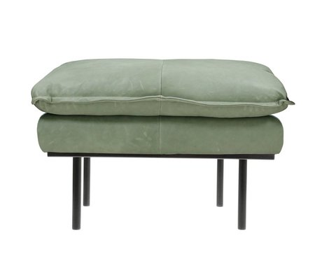 HK-living Hocker retro mintgrünes Leder 72x65x46cm