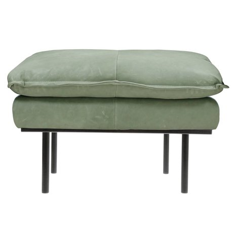 HK-living Hocker retro mint green leather 72x65x46cm