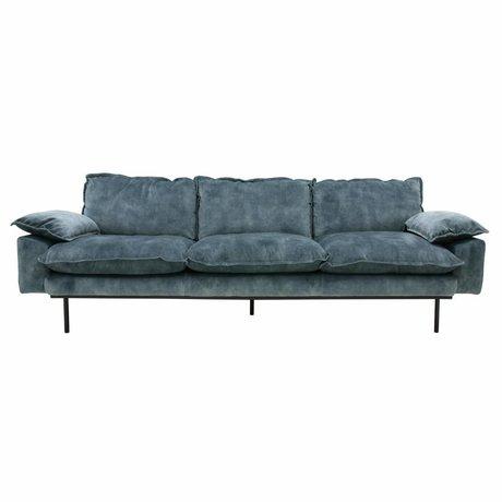HK-living Bank retro sofa 4-zits petrol blauw fluweel 245x83x95cm