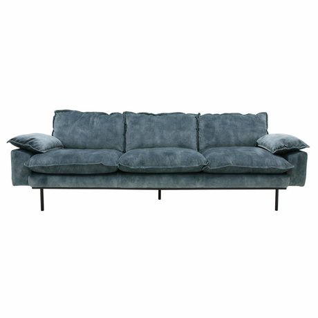 HK-living Sofa retro sofa 4-seater petrol blue velvet 245x83x95cm