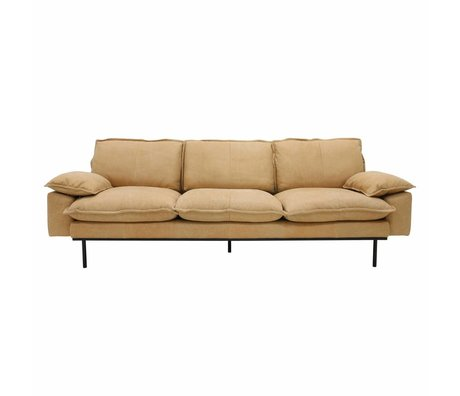 HK-living Sofa retro Sofa 4-Sitzer naturbraun Leder 245x83x95cm