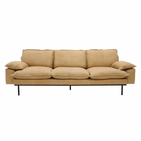 HK-living Sofa retro sofa 4-seater natural brown leather 245x83x95cm