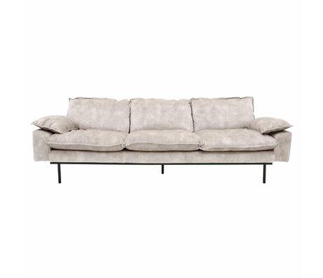 HK-living Bank retro sofa 4-zits crème fluweel 245x83x95cm