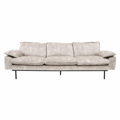 HK-living Sofa retro sofa 4-seater cream velvet 245x83x95cm