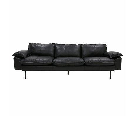 HK-living Bank retro sofa 4-zits zwart leer 245x83x95cm