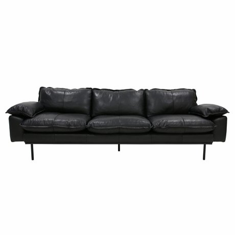 HK-living Sofa retro sofa 4-seater black leather 245x83x95cm