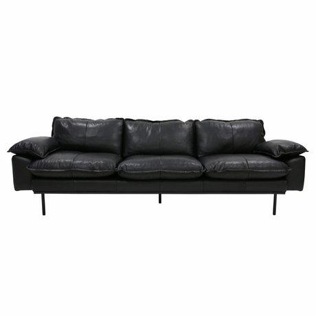 HK-living Sofa Retro Sofa 4-Sitzer Leder schwarz 245x83x95cm