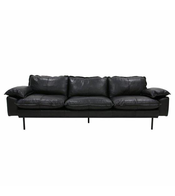Admirable Sofa Retro Sofa 4 Seater Black Leather 245X83X95Cm Bralicious Painted Fabric Chair Ideas Braliciousco