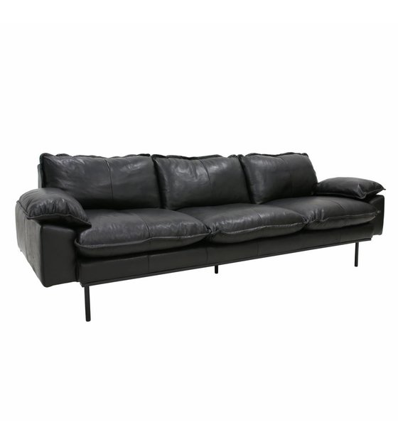 Groovy Sofa Retro Sofa 4 Seater Black Leather 245X83X95Cm Bralicious Painted Fabric Chair Ideas Braliciousco