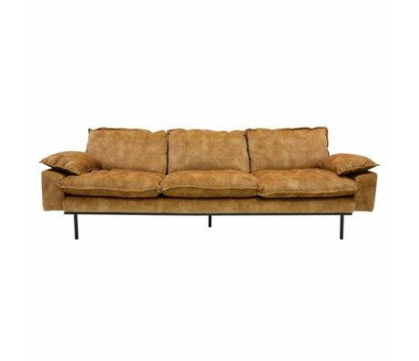 HK-living Sofa retro sofa 4-seater mustard yellow velvet 245x83x95cm