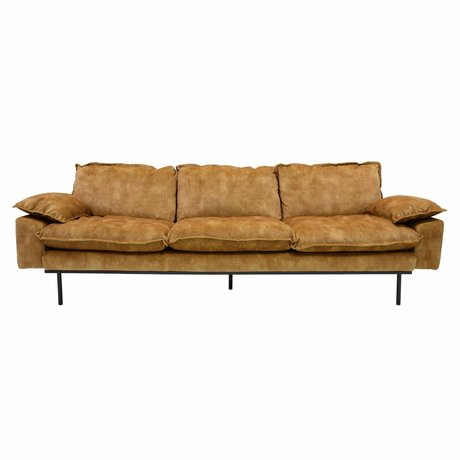 HK-living Bank retro sofa 4-zits mosterdgeel fluweel 245x83x95cm
