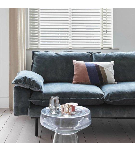Blauwe Design Bank.Bank Retro Sofa 2 Zits Petrol Blauw Fluweel175x83x95cm