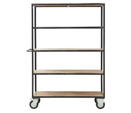 Housedoctor Trolley Unit braun schwarz Holz Metall XL 130x40x175cm