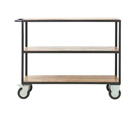 Housedoctor Trolley Unit brun noir bois métal S 130x40x98cm