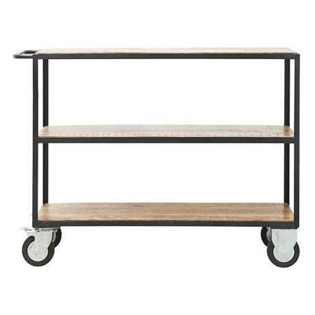 Housedoctor Trolley Unit brown black wood metal S 130x40x98cm