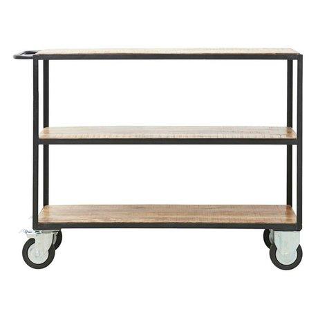 Housedoctor Trolley Unit bruin zwart hout metaal S 130x40x98cm