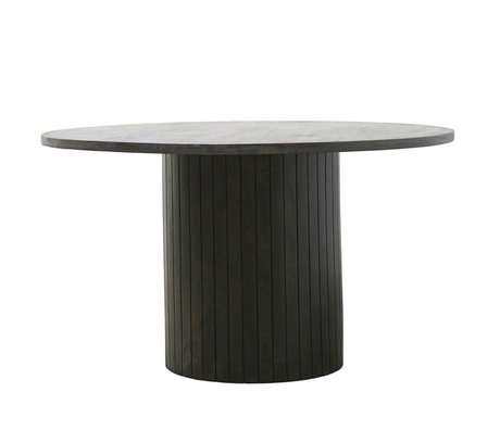 Housedoctor Dining table Pillar black dark brown wood Ø130x74cm