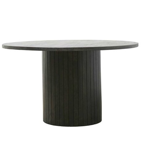 Housedoctor Eetttafel Pillar zwart hout Ø130x74cm