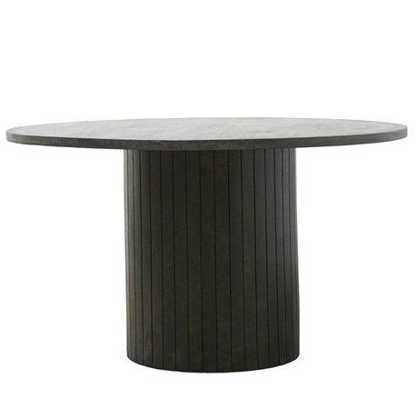 Housedoctor Table à manger Pilier noir bois brun foncé Ø130x74cm