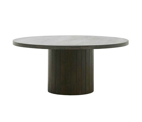 Housedoctor Coffee table Pillar black dark brown wood Ø100x42cm