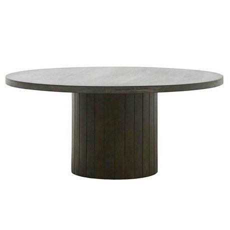 Housedoctor Table basse Pilier noir bois brun foncé Ø100x42cm