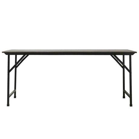Housedoctor Table de fête en bois noir fer pliable 180x80x74cm