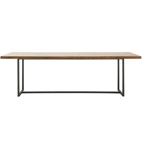 Housedoctor Table à manger en bois marron bois métal XL 240x90x74cm