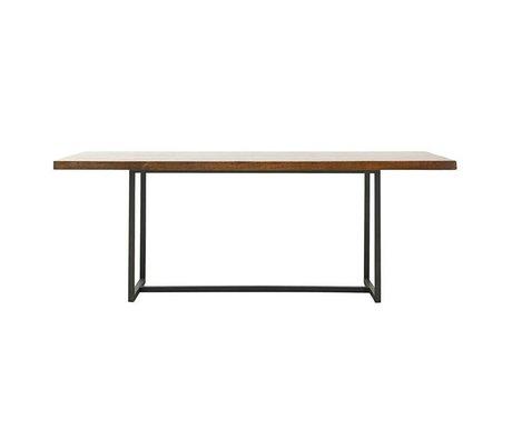 Housedoctor Table à manger dentelle marron bois métal L 200x90x74cm