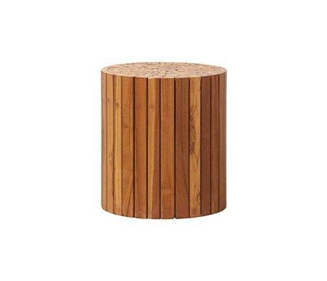 Housedoctor Side table Teaky brown wood Ø38x40cm