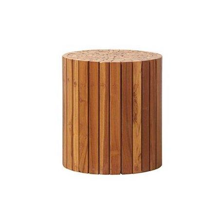 Housedoctor Bijzettafel Teaky bruin hout Ø38x40cm