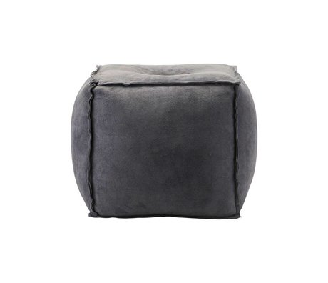 Housedoctor Pouf gray blue suede S 40x40x40cm