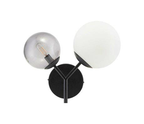Housedoctor Wandlamp Twice zwart glas ijzer 17cm