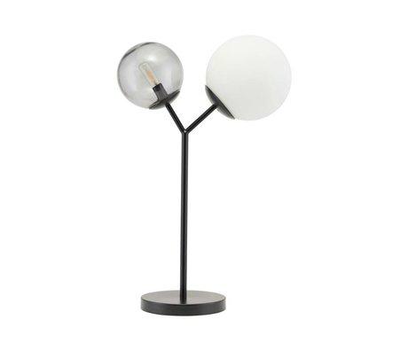 Housedoctor Lampe de table deux fois verre noir fer 42cm