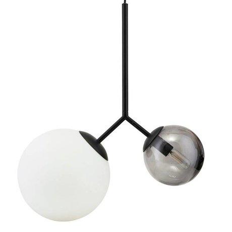 Housedoctor Suspension deux fois verre noir fer 70cm