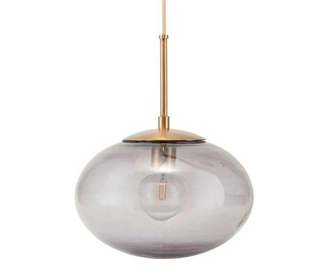 Housedoctor Hanging lamp Opal gray brass gold glass metal Ø22x17cm