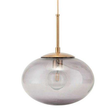 Housedoctor Hängeleuchte Opalgrau Messing Gold Glas Metall Ø22x17cm