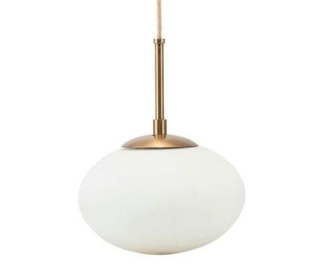 Housedoctor Hängelampe Opal Weiß Messing Gold Glas Metall Ø22x17cm