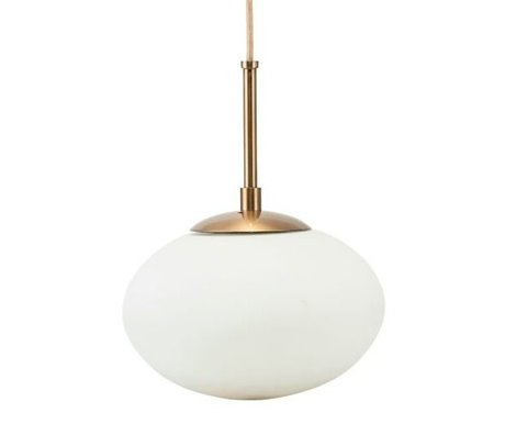 Housedoctor Hanging lamp Opal white brass gold glass metal Ø22x17cm