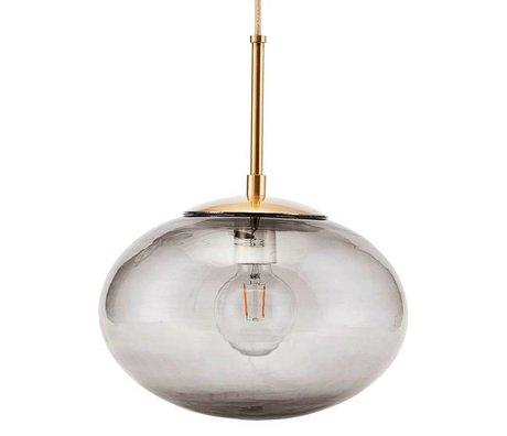 Housedoctor Hängeleuchte Opalgrau Messing Gold Glas Metall Ø30x35cm