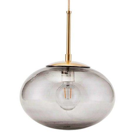 Housedoctor Lampe à suspension Opal gris laiton or verre métal Ø30x35cm