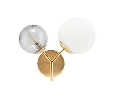 Housedoctor Wandlamp Twice brass goud glas ijzer 17cm