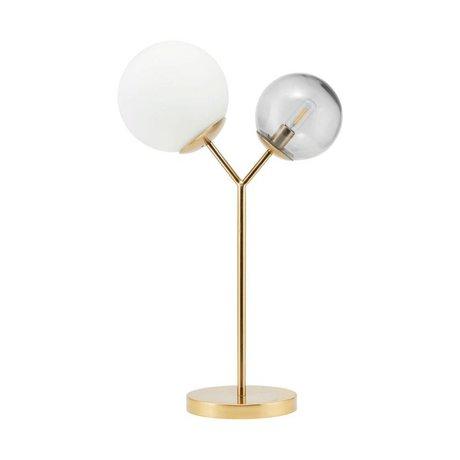 Housedoctor Tafellamp Twice brass goud glas ijzer 42cm