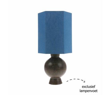 HK-living Lampenschirm sechseckig M blau Leinen 27x27x31,5cm