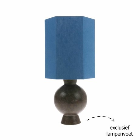 HK-living Lampshade hexagonal M blue linen 27x27x31,5cm