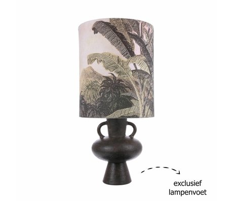 HK-living Lampenkap Jungle L groen crème linnen 36x36x42cm